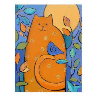 Carte Postale Chat orange avec l'oiseau par Sue Davis