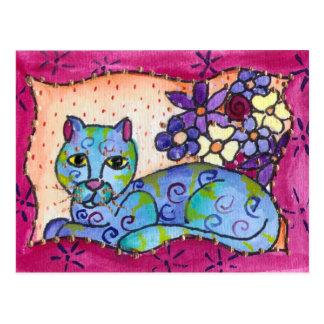 Carte Postale Chat tigré bleu