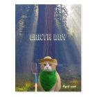 Carte Postale Chat vert gothique américain de jour de la terre