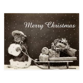 Carte Postale Chat vintage de Noël avec le traîneau et la