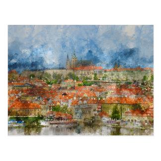Carte Postale Château de Prague avec le pont célèbre de Charles