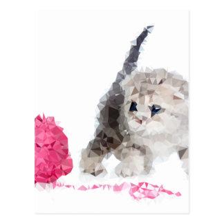 Carte Postale Chaton drôle adorable Low Poly mignon