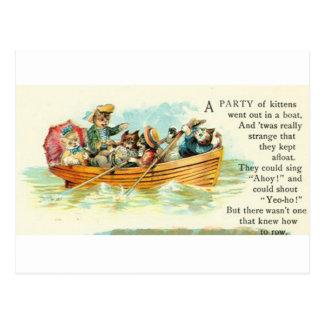 Carte Postale Chatons dans un bateau de rangée