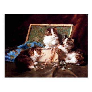 Carte Postale Chatons jouant avec une peinture de couture de