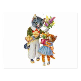 Carte Postale Chats d'Arthur Thiele soutenant des cadeaux