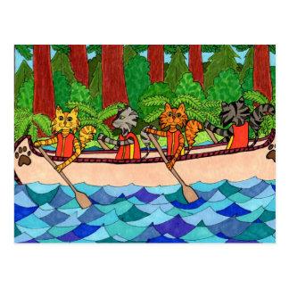 Carte Postale Chats de canoë-kayak