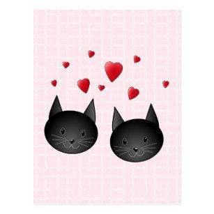 Carte Postale Chats noirs mignons avec des coeurs, sur pâle ,