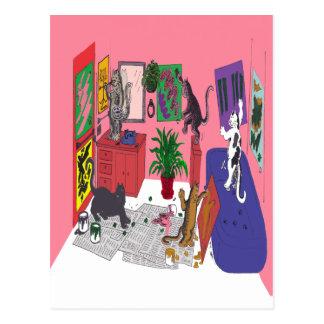 Carte Postale Chats qui peignent, art humoristique de la