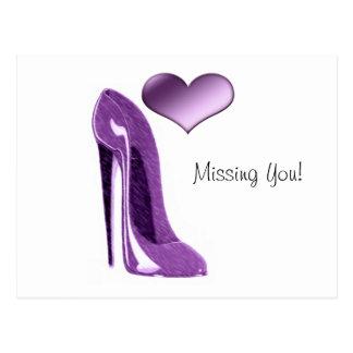 Carte Postale Chaussure et coeur stylets lilas succulents de