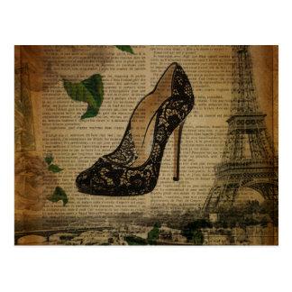 Carte Postale Chaussures girly vintages de Tour Eiffel de Paris