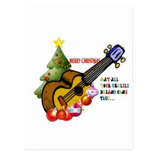 Carte Postale Chemise d'ukulélé de Noël