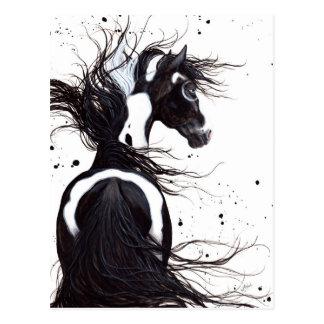 Carte Postale Cheval blanc noir de peinture de Pinto par la