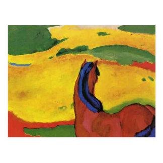Carte Postale Cheval de Franz Marc dans un paysage