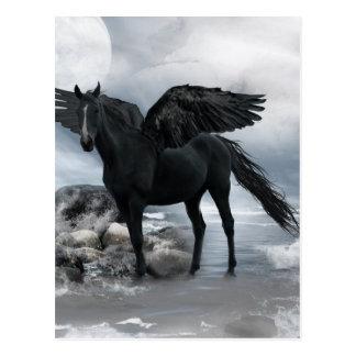 Carte Postale cheval noir de Pegasus