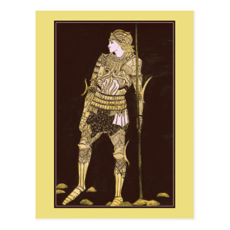Carte Postale Chevalier dans l'armure brillante - or