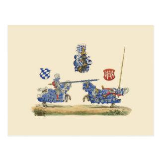 Carte Postale Chevaliers joutants - thème médiéval