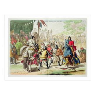 Carte Postale Chevaliers se battant en duel à pied dans un