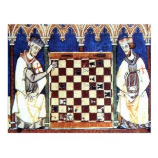 Carte Postale Chevaliers Templar jouant aux échecs (1283)