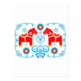 Carte Postale Chevaux rouges de Dala