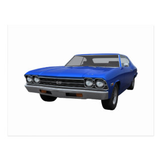Carte Postale Chevelle 1969 solides solubles : Finition bleue