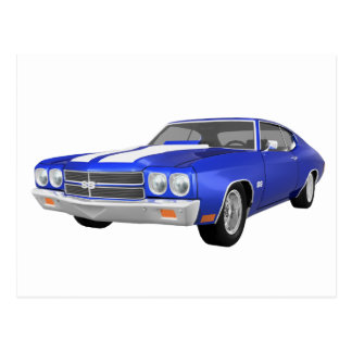 Carte Postale Chevelle 1970 solides solubles : Finition bleue :