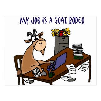 Carte Postale Chèvre drôle à l'humour du travail de rodéo de