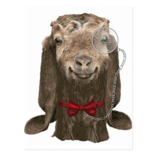 Carte Postale Chèvre drôle de Nubian avec le monocle