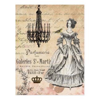 Carte postale chic minable de dame française vinta