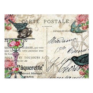 Carte postale chic minable d'oiseau bleu de Paris