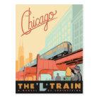 """Carte Postale Chicago, IL - """"L"""" train"""