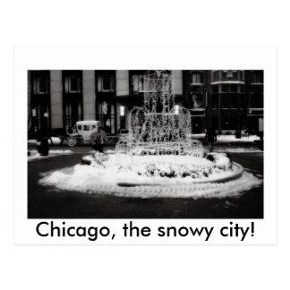 Carte Postale Chicago, la ville neigeuse !