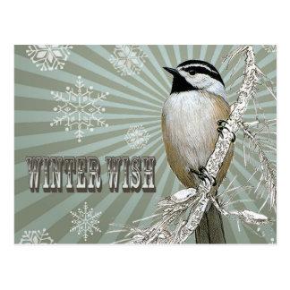 Carte Postale chickadee vintage moderne de région boisée d'hiver