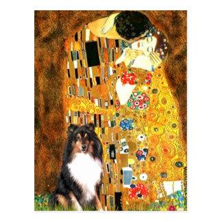 Carte Postale Chien de berger de Shetland (Tri11) - le baiser