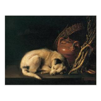 Carte Postale Chien de sommeil de Gerrit Dou A avec le pot de