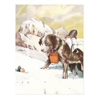 Carte Postale Chien de St Bernard à la délivrance