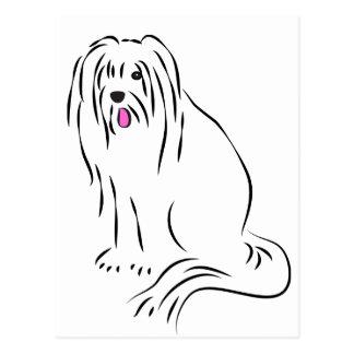 Carte Postale Chien hirsute de colley barbu mignon