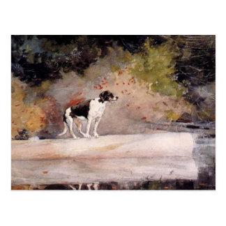 Carte Postale Chien sur un rondin par Winslow Homer