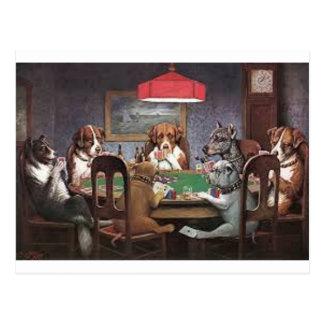 Carte Postale Chiens jouant au poker