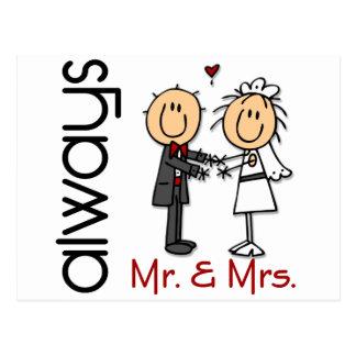 Carte Postale Chiffre M. et Mme Always de bâton de couples de