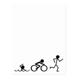 Carte Postale Chiffres de bâton de triathlon