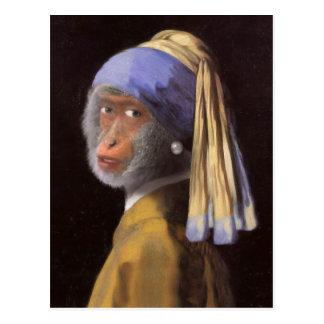 Carte Postale Chimpanzé avec la boucle d'oreille de perle