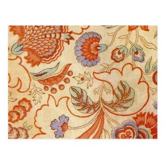 Carte Postale Chintz floral orange de corail Paisley