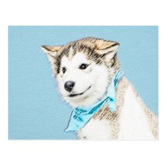 Carte Postale Chiot de chien de traîneau sibérien