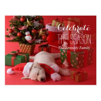Carte Postale Chiot et Noël de golden retriever