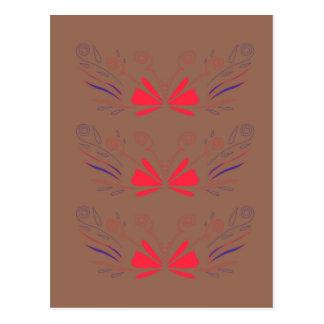 Carte Postale Chocolat d'éléments d'ethno de spa, rouge