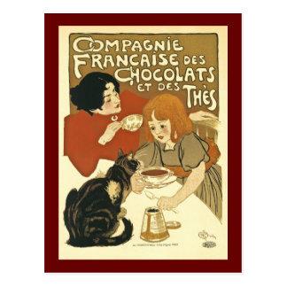 Carte Postale Chocolat français vintage de publicité de