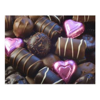 Carte Postale chocolats avec l'aluminium rose