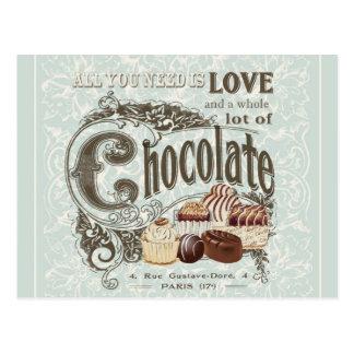 Carte Postale chocolats français vintages modernes