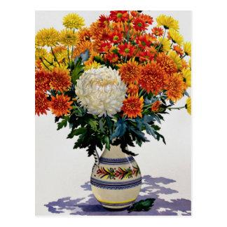 Carte Postale Chrysanthèmes dans une cruche modelée 2005