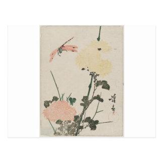 Carte Postale Chrysanthèmes et libellule par Keisai Eisen